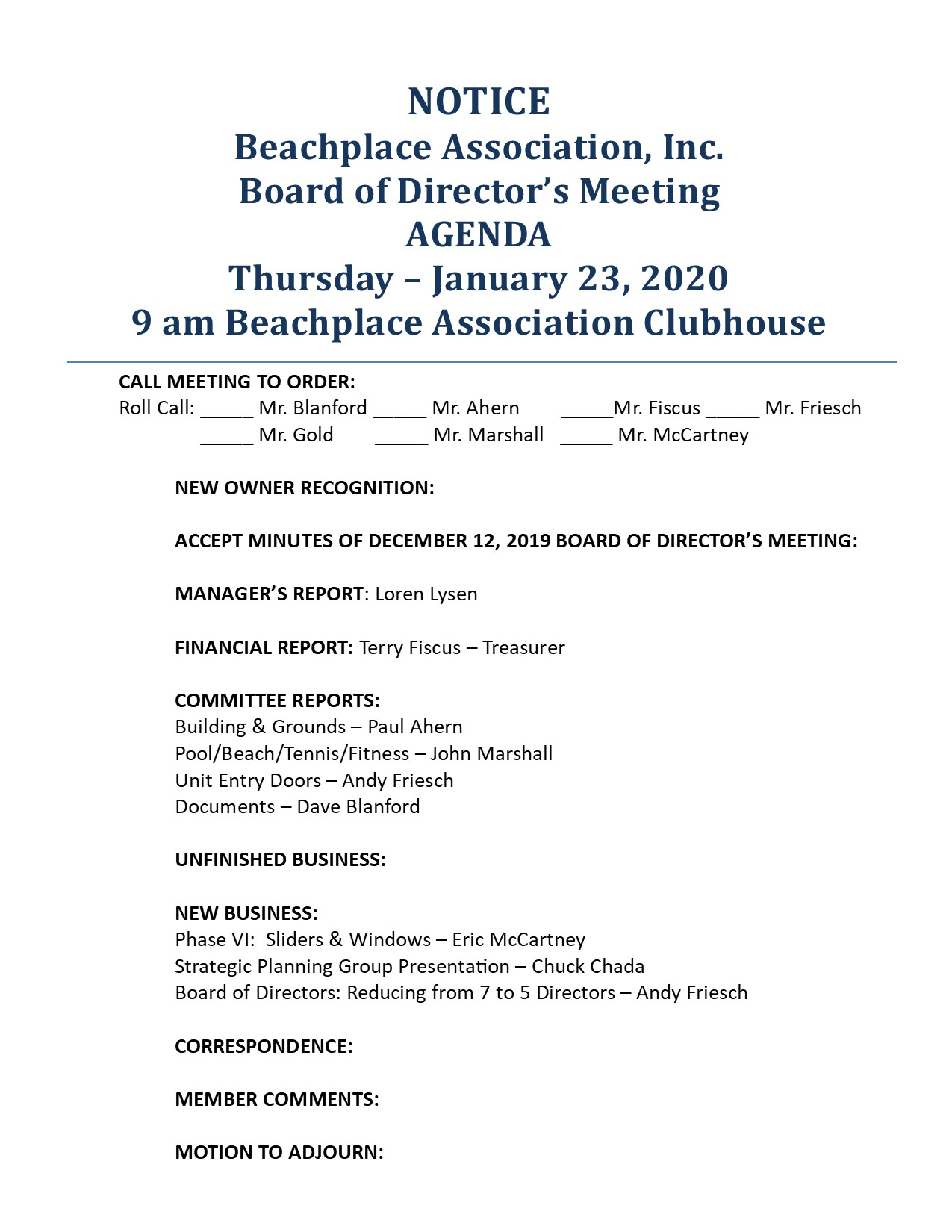 BOARD OF DIRECTORS MEETING @ The Beachplace Clubhouse