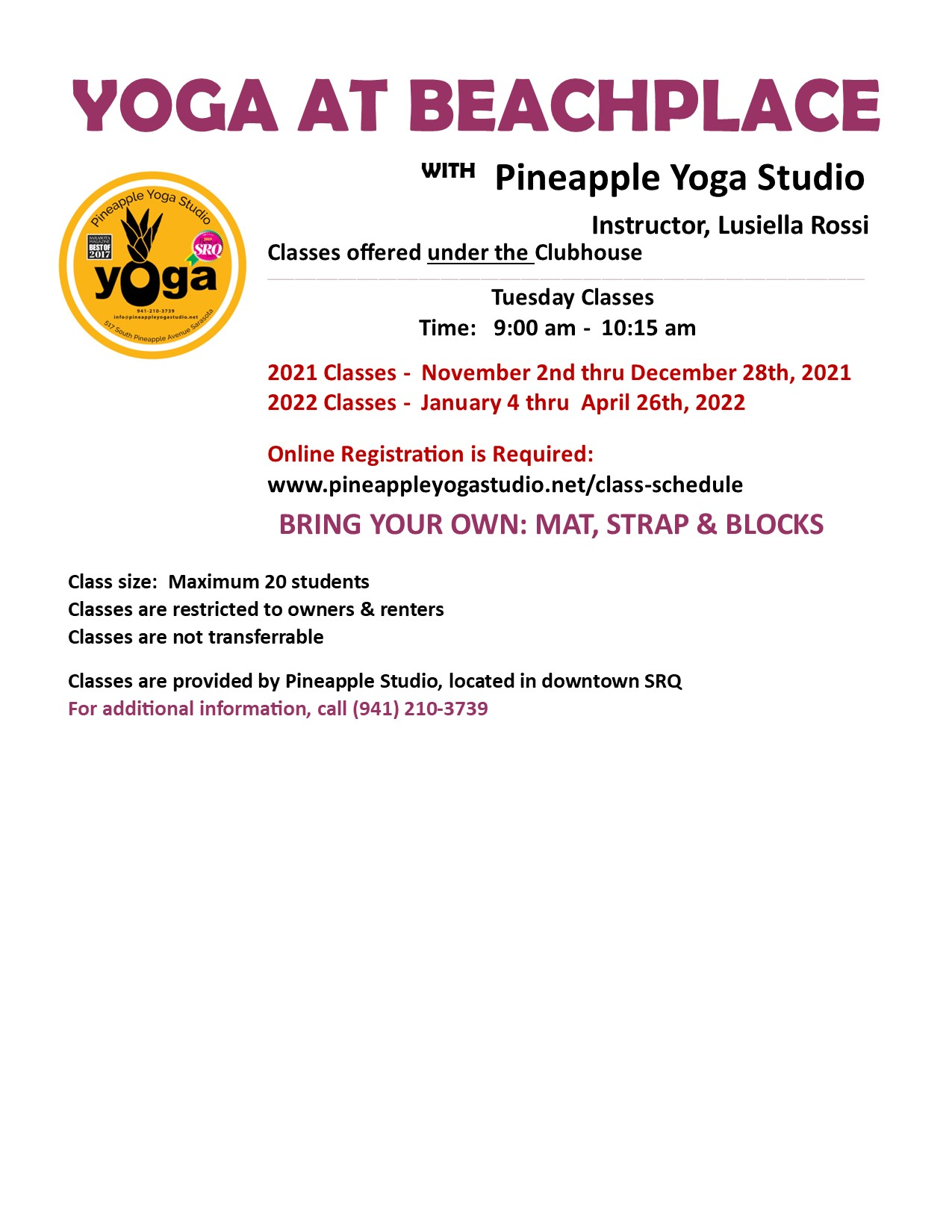 YOGA for Owners & Renters in Residence @ Under the Beachplace Clubhouse